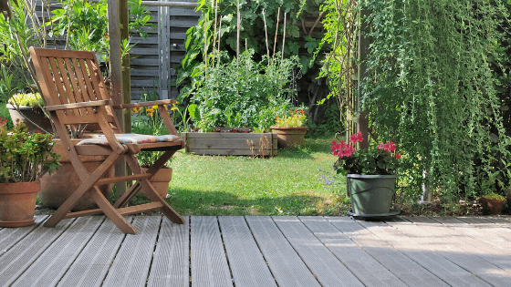 garden that has been improved with composite decking